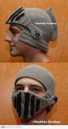 Crocheted Knight Helmet. You know, to battle the minions of cold. I feel like I want one of these for winter so I can run around with my nerf sword like a total bad ass