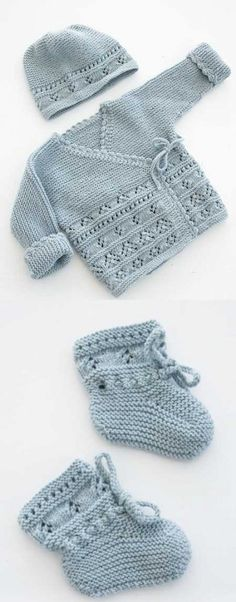 """diy_crafts- Free baby knitting pattern set including a lace cardigan and booties. """"Baby Knitting Patterns Free Baby Knitting Pattern for Jacket a"""