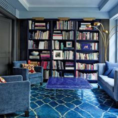 "556 Likes, 6 Comments - Oum Rugs Co. (@myoumrugs) on Instagram: ""We simply cannot handle this #chic home's #library! This #blue #custom Beni Ouaraine is out of this…"""