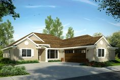 Mediterranean Style House Plan - 3 Beds 2 Baths 1839 Sq/Ft Plan #124-1021 Exterior - Front Elevation - Houseplans.com