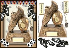 Football Frenzy For the Cup on Craftsuprint designed by Ceredwyn Macrae - A… Project Life Free, Sports Birthday, Boy Cards, 3d Prints, Birthday Cards For Men, Quick Cards, Card Patterns, Digital Stamps, Card Templates