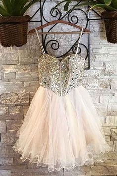 Beaded white organza prom dress, homecoming dress, short prom dress for teens