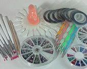 Nail Art Supply RHINESTONE Starter Kit striping tape rhinestones dotting tools and brushes CARE PACKAGE