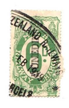 NEW ZEALAND 1925 Railway Charges 6d Green. Used at Dunedin. - 3736 - Fiscal - NZ Fiscals Railway Charges - New Zealand Stamps - NEW ZEALAND - EASTAMPS