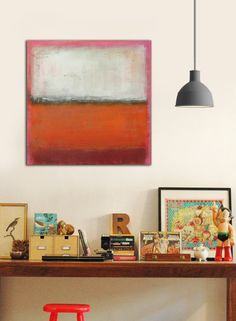 Original Abstract painting  RAW Orange and Pink  door RonaldHunter, $289.00