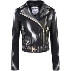 Moschino Blazer (€580) ❤ liked on Polyvore featuring outerwear, jackets, blazers, black, zipper jacket, long sleeve blazer, zipper blazer, moschino blazer and zip blazer