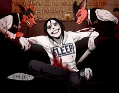 Jeff the Killer / Smile Dog / Grinny Welcome to the creepy night club. Muahahaha. Just wanted to draw Smile and Grinny as waiters. Maybe next time will be a human version of them. Or maybe some oth...