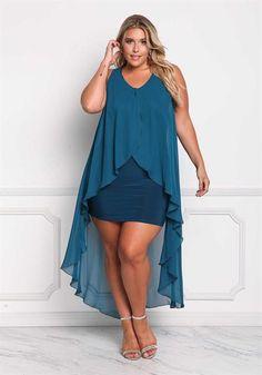 39.95---Plus Size Chiffon Surplice Hi-Lo Dress