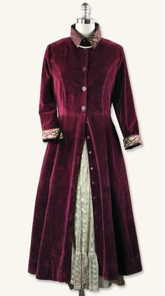 APRIL CORNELL BOULEVARD COAT - Victorian Long Coat - From the legendary designer, lightweight silken velvet dyed the shade of cabernet is paired with champagne brocade cuffs and collar and secured with pretty buttons. The tailored seams and fit are so very flattering. The design is timeless and knows no trend. Imported. 100% cotton velvet.