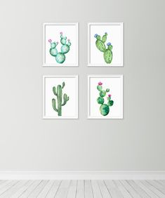 Cactus print set - Printable cactus set of 4 - Botanical prints - Cactus poster - Watercolor prints - Cactus wall art - Digital art