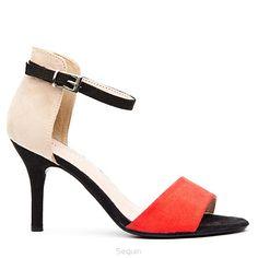 300 sandałki na obcasie red nude - Koturny, baleriny, sandały damskie, czółenka, buty sklep internetowy