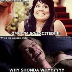 Whyyyy Shonda!!  Grey's anatomy