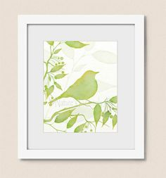 Hey, I found this really awesome Etsy listing at https://www.etsy.com/listing/209225294/bird-on-branch-lime-green-wall-decor-8-x