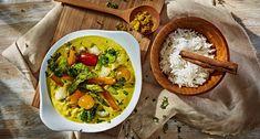 Caril de legumes com arroz basmati