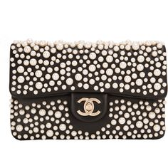 Pre-Owned Chanel Black Lambskin Pearly Flap Bag (8,475 CAD) ❤ liked on Polyvore featuring bags, handbags, black, pocket purse, colorful handbags, multi colored purses, lambskin handbag and lambskin purse