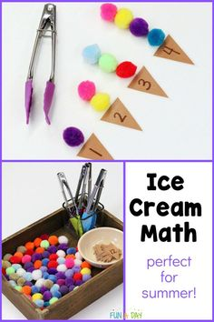 "A SUPER simple preschool math activity! Make some ice cream ""cones,"" add pom poms and tongs, and voila - they're learning! Perfect for preschool centers, a summer theme, or a fun fine motor activity! Summer Preschool Activities, Early Learning Activities, Preschool Centers, Preschool Math, Math Activities, Fun Learning, Math For Kids, Big Kids, Fun Math Games"