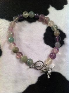 Green & Purple Fluorite Bracelet with by ChellesUniqueDesigns, $25.00