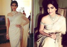 Sonam Kapoor was dazzling in Suneet Verma sari. She elegantly carried off the sari with a heavy diamond and kundan necklace and off-shoulder blouse.