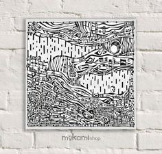 Canvas print Ready to hang BLACK LANDSCAPE Art Wall by mokami