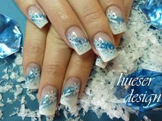 snowflake nail art | Found on hueser-design.de