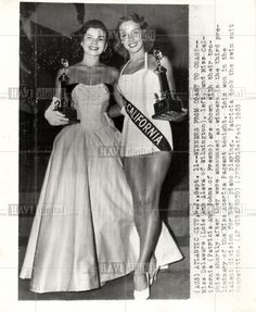1953 Miss America Pageant press photo - Text on photo includes: Miss Delaware (Lois Ann Alava of Wilmington), left, and Miss California (Patricia Ann Johns of Fresno) are shown with their trophies shortly after they were announced as winners in the third preliminary of the Miss America Pageant tonight. Lois won in the talent division for her piano playing. Patricia took the swim suit competition.