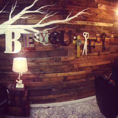Salon space, pallet wall