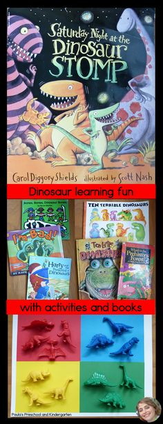 My favorite dinosaur books and activities, plus a FREE dinosaur game for preschool - kindergarten kiddos!