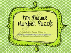 Ten Frame Number Puzzle from TheReadingCorner on TeachersNotebook.com (8 pages)