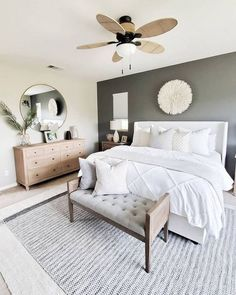 Neutral master bedroom details care of for Desi. - Neutral master bedroom details care of for Desi. Bedroom Decor Master For Couples, Master Bedroom Design, Home Decor Bedroom, Master Bedrooms, Master Suite, Simple Bedrooms, Bedroom Plants, White Bedroom Decor, Grey Wall Bedroom