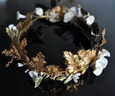 Gold wreath headbands.