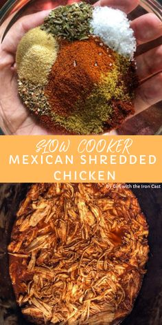 This Slow Cooker Mexican Shredded Chicken is so versatile, perfect for any mexic. - This Slow Cooker Mexican Shredded Chicken is so versatile, perfect for any mexican dish, salads, me - Mexican Chicken Tacos, Mexican Shredded Chicken, Chicken Taco Recipes, Mexican Food Recipes, Chicken For Nachos, Crockpot Chicken For Enchiladas, Slow Cooked Mexican Chicken, Shredded Chicken Nachos, Healthy Shredded Chicken Recipes
