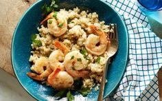 Healthy Garlic Shrimp and Quinoa Grits Recipe : Food Network Kitchen : I love me some shrimp! Food Network Uk, Food Network Recipes, Cooking Recipes, Healthy Recipes, Lean Recipes, Healthy Options, Healthy Foods, Shrimp Recipes, Fish Recipes