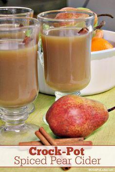 Crock-Pot Spiced Pear Cider Crock-Pot Spiced Pear Cider – Pear juice, cinnamon, cloves and orange zest bring a whole new. Slow Cooker Desserts, Slow Cooker Recipes, Crockpot Recipes, Cooking Recipes, Desserts For A Crowd, Winter Desserts, Delicious Desserts, Spiced Pear, Spiced Cider