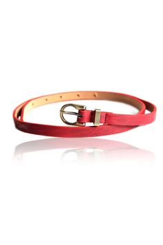 Simple Red Skinny Belt –  Stylish Skinny Belt, Crafted Leatherette Body, Pin Buckle Closure In The Front, Brush Antique Metal Finishing, Adjustable Length - Rs. 199.00