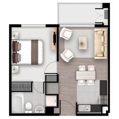 Small Loft Apartments, Small Apartment Plans, Studio Apartment Floor Plans, Small Apartment Design, Apartment Layout, House Layout Plans, Floor Plan Layout, Small House Plans, House Layouts