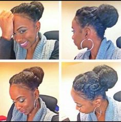 Protective style/Transitioning hairstyle: love these twists into a bun!