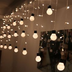 48 LED 10 Globe Bulb Ball Xmas Lamp Light String Curtain Home Wedding Decor Warm for sale online Led Icicle Christmas Lights, Led Icicle Lights, Led Curtain Lights, Christmas Lamp, Starry Lights, Globe String Lights, Ball Lights, Light String, Christmas Wedding