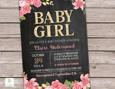 Girl Baby Shower invitation Gold Pink Shower by KansasCardstock