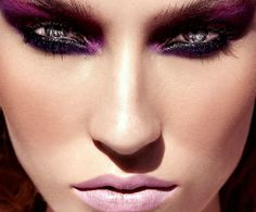 green eyes in purple and pink make up