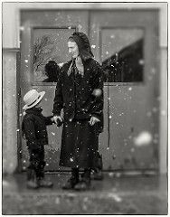 Amish Mother and Son (crabsandbeer (Kevin Moore)) Tags: amish mennonite mudsale pa pennsylvania people rawlinsville snow spring mother son child childhood winter weather pennsylvaniadutch bw portrait candid reflection