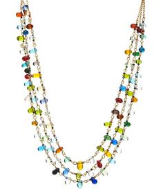 Look what I found on #zulily! Lime & Blue Glass Bead Triple-Strand Necklace #zulilyfinds