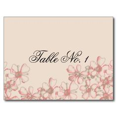 Vintage Wildflower Coral and Cream Table Number Postcard