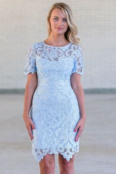 This beautiful ice blue crochet lace dress reminds us of Elsa from Frozen! The Ice Blue Crochet lace Overlay Dress is lined except at chest, back and sleeves, which are semi-sheer. The liner has a sweetheart neckline. This dress has short sleeves and sheath cut. We love how the crochet lace creates a unique uneven hemline. A hidden back zipper completes this dress. The color of this dress is so gorgeous! You will stand out at your next party or event. This dress is great for work events or…