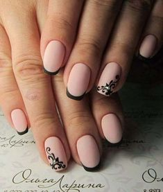 Manucure Nails - Jolis ongles - # Ongles # Manucure # N . Black Nails, Matte Nails, Pink Nails, Acrylic Nails, My Nails, Matte Pink, Matte Black, Black Polish, Pink Black