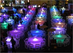 Themed Party LED Tables - I love the use of light, so fun...