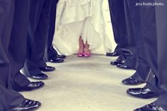 Great bride and groomsmen's photo! @Brandy Busby Stringer Manor House #BMHbride ; bride and groomsmen; bride; shoes; bridal photos; bridal shoes