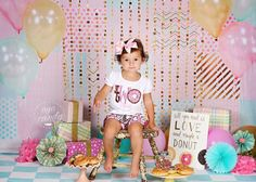Pastel patchwork curtain and balloons - Photography backdrop only available at Baby Dream Backdrops.