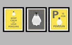 Keep Calm and Love Penguins 8x10 Prints Set of 3 Nursery Art. $32.00, via Etsy.