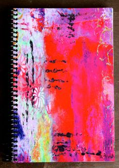 Mixed Media Abstract Lined Paper Notebook by KathleenTennant, $15.00