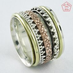 Sz 7 US, Fashion Design 925 STERLING SILVER,BRASS,COOPER SPINNER RING,R4434 #SilvexImagesIndiaPvtLtd #Spinner #AllOccasions